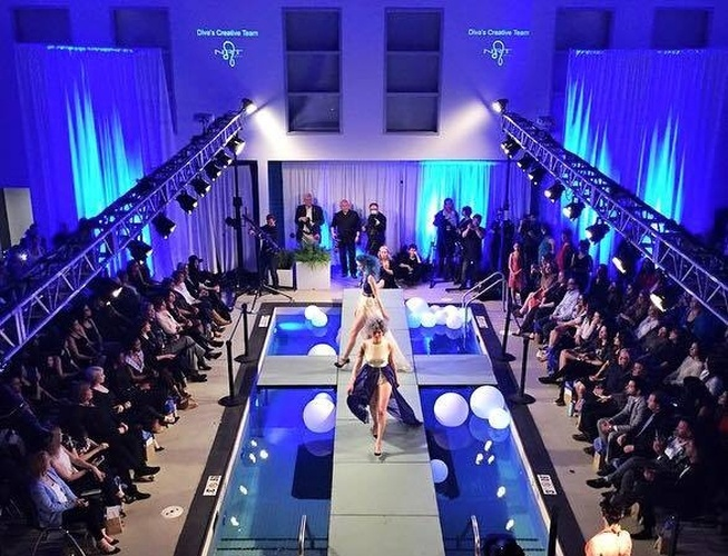Photo of lighting over pool fashion show